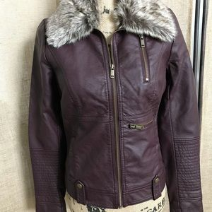 Faux leather jacket with fake fur collar